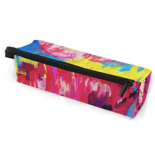 Glasses Case Oil Painting Lip Multi-Function Zippered Pencil Box Makeup Cosmetic Bag for Women/Men