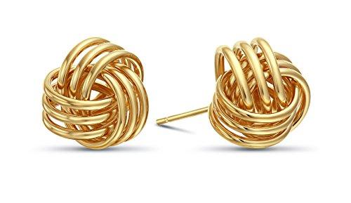 14k Yellow Gold Love Knot Stud Earrings ()