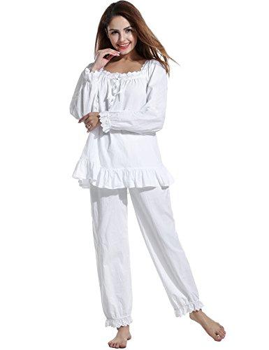 eeb60aa736 Avidlove Womens Cotton Pjs Victorian Vintage White Long Sleeve Pajama Set  Sleepwear at Amazon Women s Clothing store