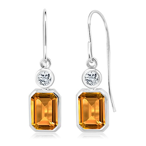 Gem Stone King 2.02 Ct Emerald Cut Yellow Citrine White Topaz 925 Sterling Silver Earrings