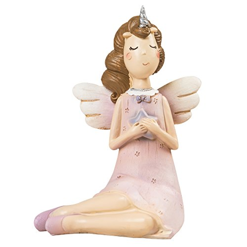 Cyrra Mini Praying Unicorn Angle Figurine Doll Figurine Trinket Keepsake Nice Addition Resin Figurine, Pink, 3.3x2.7x4.7 inch (Praying Unicorn Angle) - Unicorn Keepsake