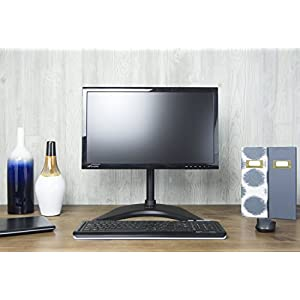 "VIVO Single LCD Monitor Desk Stand Adjustable Tilt Free-Standing Mount fits 1 Screen up to 32"" (STAND-V001P)"