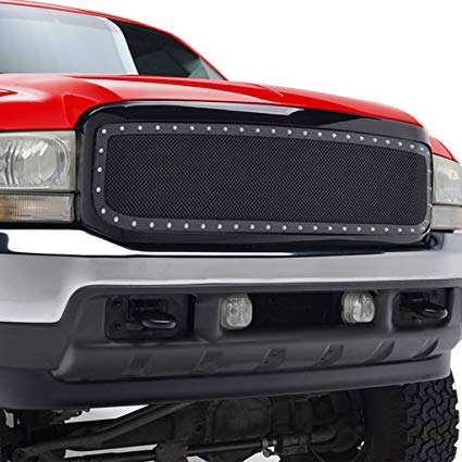 Grille for Ford F250 F350 Super Duty | 1999 2000 2001 2002 2003 2004 | Rivet Style Stainless Steel Mesh | by JX Accessories