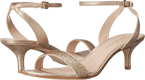 Pelle Moda Women's Fabia 2 Platinum Gold Metallic Kid Suede Sandal 5 M - Kid Suede Womens Sandals