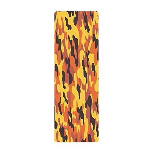 iPrint Yoga Towel, 100% Microfiber Yoga Mat Towel,Camo,Lively Colors Retro Style Camouflage Defense Hidden Soldier Modern Artsy,Yellow Orange Dried Rose,for Hot Yoga, Pilates and Fitness by iPrint