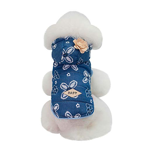 (Lookvv Dog Warm Winter Fleece Coat Cold Weather Jacket Chihuahua Hoodies for Small Medium Dogs Cat Pet Apparel Blue)