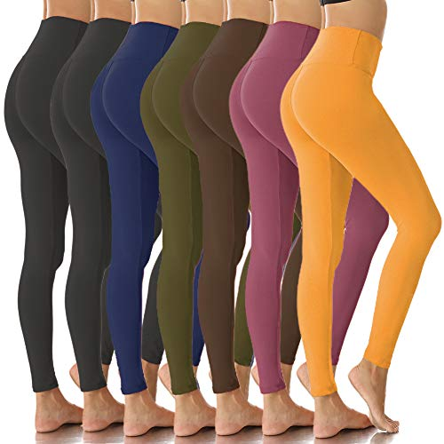 Womens High Waisted Leggings-Super Soft Slim Pants-One/Plus Size 20+ Design (Black2/Navy/Olive/Brown/Old Rose/Ginger, Plus Size (US 12-24))