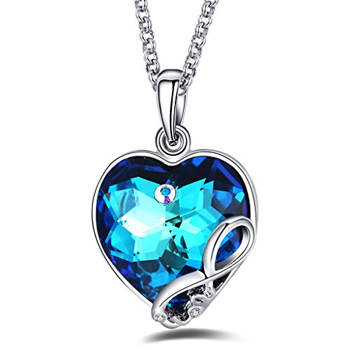 Foruiston Infinity Blue Swarovski Crystal Heart Necklace for Women