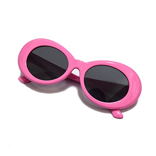 JUSLINK Bold Retro Oval Mod Thick Frame Sunglasses Round Lens Clout - Oval Pink