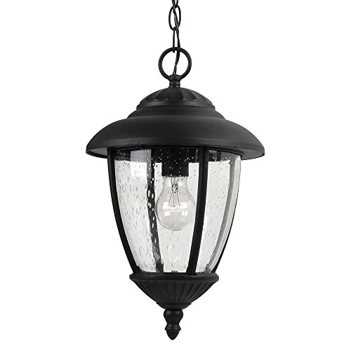 Sea Gull Lighting 60068-12 Lambert Hill One-Light Outdoor Pendant with Clear Seeded Glass Panels, Black Finish (Traditional Outdoor Pendant Light)