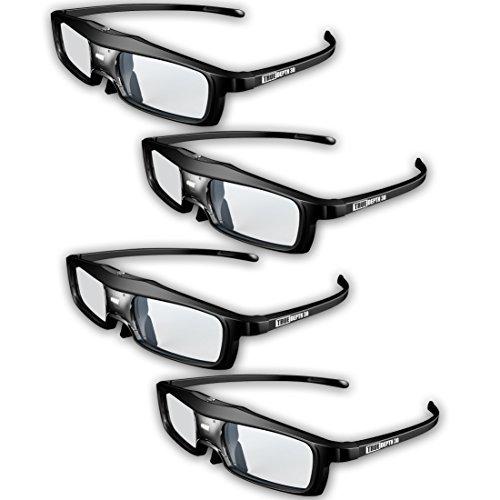 True Depth 3D® NEW Firestorm LT Lightweight Rechargeable DLP link 3D Glasses for All 3D Projectors (Benq, Optoma, Acer, Vivitek, Dell Etc) and All DLP HD 3D TVs (Mitsubishi, Samsung Etc) Compatible At 96 Hz, 120 Hz and 144 Hz! (4 Pairs!)