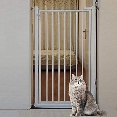 HYDT Barrera de Seguridad Portón de Metal para bebés con Puerta, portones de Seguridad para Perros Altos de 90 cm para Puerta de Escalera, montado a presión, 80-120 cm de Ancho, Blanco: