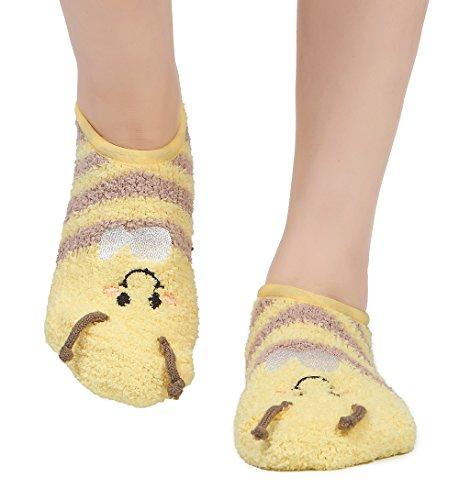 Leotruny Women's Animal Winter Cute Cozy Warm Fuzzy Slipper Socks -