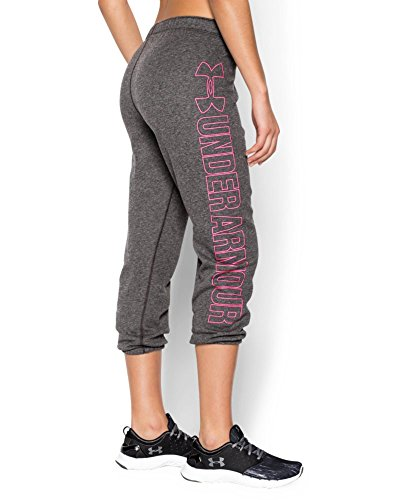 Under Armour Women's UA Fleece Capri, Carbon Heather/Harmony Red, MD (US 8-10) X 22 by Under Armour (Image #1)