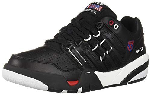 (K-Swiss Men's SI-18 International Heritage Sneaker Black/White/Ribbon Red 14 M US)