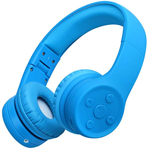 Picun Kids Bluetooth Headphones Safe Volume Limited 85dB 15 Hours Play Time Foldable Stereo Sound Headsets with Mic Wireless Headphones for Boys Children Computer Cell Phones Tablet School Game(Blue)