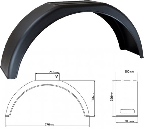 Single 13' Deluxe Trailer Mudguard / Arch (770x200x330mm) Fastcar