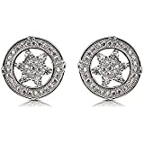 Izaara Women's 925 Sterling Silver Stud Earrings with Round Cut Crystal, Special for Women and Girls