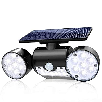 Sunenvoy Solar Light Outdoor with Motion Sensor, Solar Wall Light with Dual Head Spotlights 30 LED Waterproof 360-Degree Rotatable Solar Security Light Outdoor for Garden Solar Lights Wireless Solar
