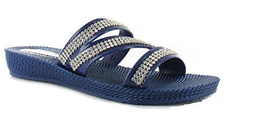 Ouvrez Toe Bleu Summer Flip Ella Flop Femme Sandales Strappy Strass Marine wqzUFxXY