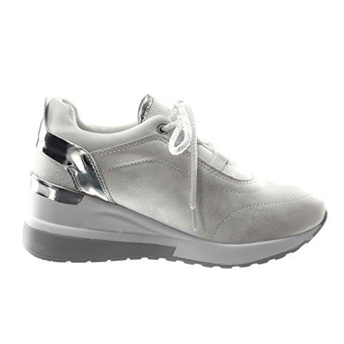 Moda Cm Scarpe 6 Bianco Zeppa Lucide Tacco Sneaker Piattaforma Bi Tennis Sporty Chic Donna Angkorly materiale q65ST5