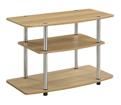 Convenience Concepts 3-Tier TV Stand, Light Oak (Tv Stand Highboy Oak)