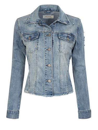 Design by Olivia Women's Boyfriend Washed Classic Ripped Raw Hem Denim Jacket Light Denim ()