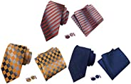 MOHSLEE Men's 3-Pack Woven Plaid Floral Tie Neckties Pocket Square Cufflinks