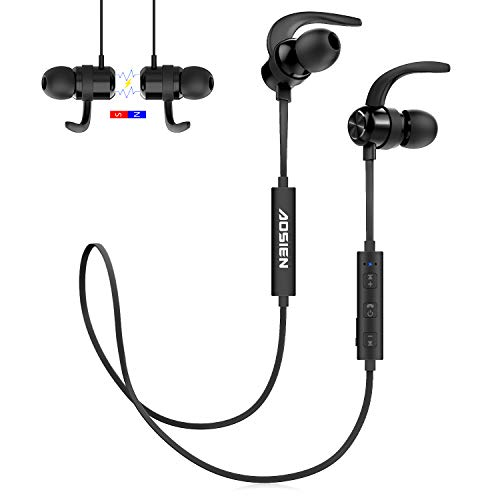 Wireless Bluetooth Headphones Aoslen Universal Magnetic Smart Switch in-Ear Sports Earbuds with Microphone Hi-Fi Stereo Bass Sound Headphones for iPhone, Samsung,Huawei Xiaomi