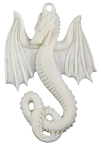 Curious Designs Bone Pendant - Dragon, 1.6 Inches, Includes Recycled Glass Bead Set