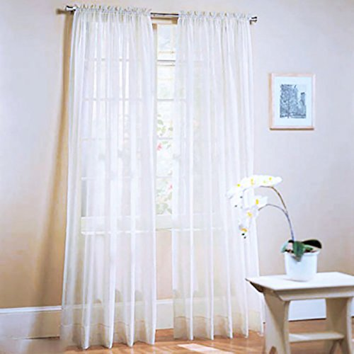 LUFA New Solid Color Voile Sheer Curtain Panel Window Curtains 100*200cm Deep Purple