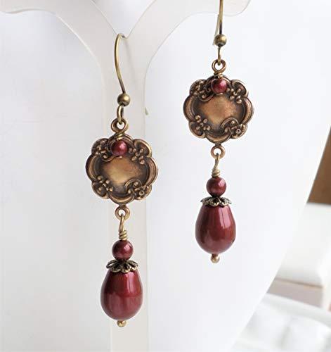 Dark Red Pearl Victorian Medallion Antique Brass Drop Earrings