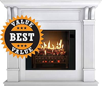 MagikFlame Electric Fireplace and Mantel - Trinity White Electric Fireplaces with Heater - Large, White Electric Fireplace Heater - 26 Realistic Flame Aesthetics, Crackling Log Sounds For Living Space