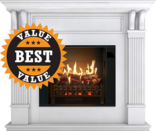 (MagikFlame Electric Fireplace with Mantel | Electric Fireplaces with Ultra-Realistic Flames | White Electric Fireplace | Electric Fireplace Heater Included | Electric Heater Puts Out 4,600 BTU's)