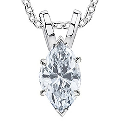 White Gold 1 Carat Marquise (1 Carat 14K White Gold Marquise Diamond Solitaire Pendant Necklace 4 Prong H-I Color SI2-I1 Clarity)