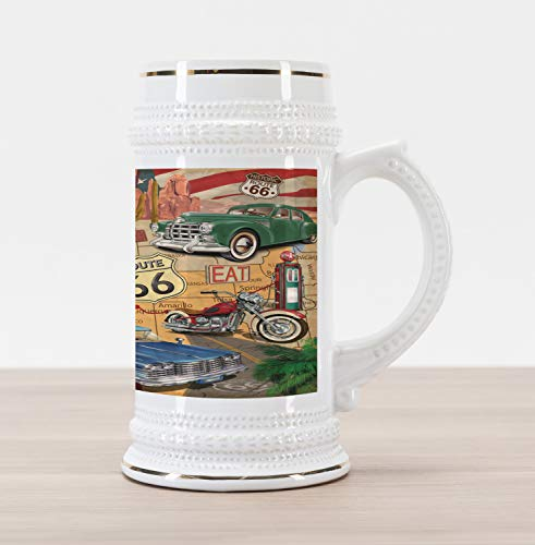 Lunarable Route 66 Beer Stein Mug, Old Fashioned Cars Motorcycle on a Map Road Trip Journey American USa Concept, Traditional Style Decorative Printed Ceramic Large Beer Mug Stein, Multicolor