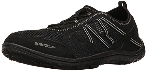 Teva Water Shoes (Speedo Men's Seaside Lace 5.0 Athletic Water Shoe, Black/Black, 10 C/D US)