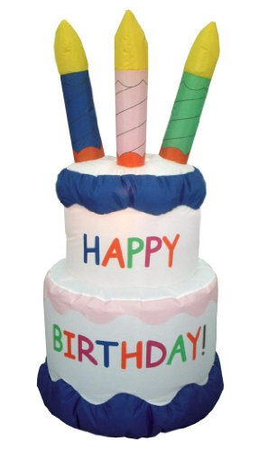 6 Foot Inflatable Happy Birthday Cake Yard Decoration (Air Blown Inflatables)