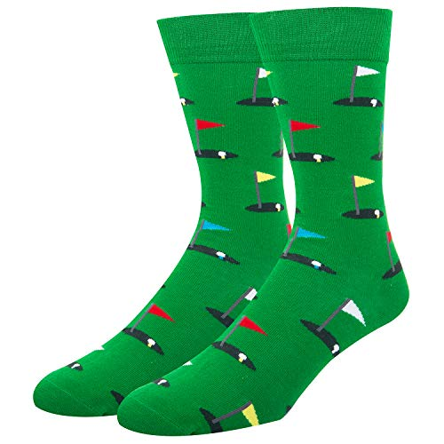 (Mens Golf Novelty Socks Funny Dress Colorful Original Cool Pattern Sports Mid Crew Casual)