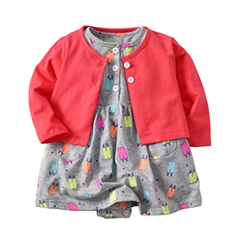 (Baby Girl's Long Sleeve Cardigan Short Sleeve Romper Dress Skirt Casual Toddler Baby 2Pcs Girl Clothes Set Outfit (Ice Cream, 9-12 Months/80) )