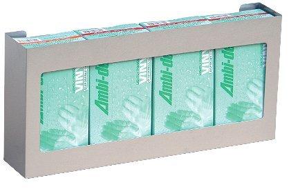 Omnimed 305304 Quadruple Side-By-Side Glove Box Holder, 2 Per Pack, Stainless Steel