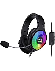 Redragon H350 Pandora RGB Wired Gaming Headset, Dynamic RGB Backlight - Stereo Surround-Sound - 50MM Drivers - Detachable Microphone, Over-Ear Headphones Works for PC/PS4/XBOX One/NS (Black)