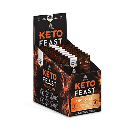 Ancient Nutrition KetoFEAST Powder, Chocolate, 12 Servings - Keto Diet Meal Replacement with Ketogenic Superfoods for Ketosis and Energy by Ancient Nutrition