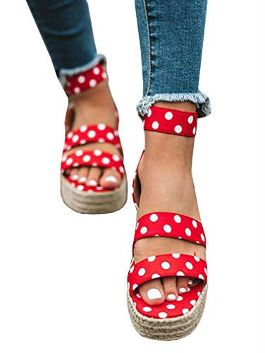 LAICIGO Women's Platform Sandals Espadrille Ankle Strap Flat - Sandals Red Dot Polka