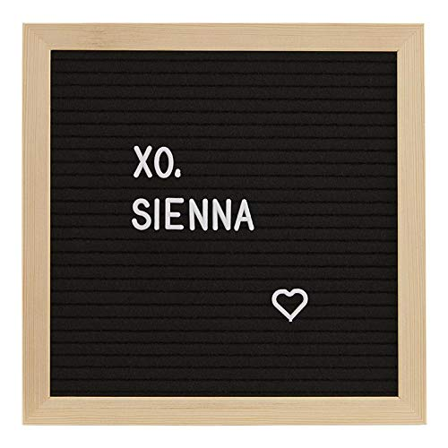 xo, Sienna Black Felt Letter Board with Natural Pine Frame - Includes 189 Letters, Numbers and Symbols