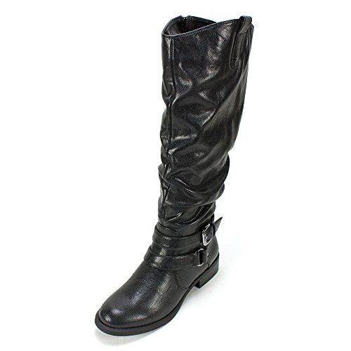 WHITE MOUNTAIN Women's Lioness Riding Boot,Black,6.5 M (Buckled Slouchy Boots)