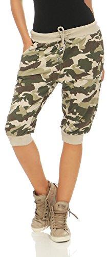 Donna con Sweatpants Taglia Pantaloni camuffamento Unica Boyfriend 8017 Baggy breve Pump Print malito Beige Yqwvt6v