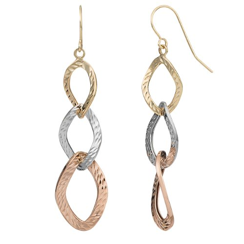 Kooljewelry 10k Tricolor Gold Graduated Diamond-cut Twist Oval Drop Earrings