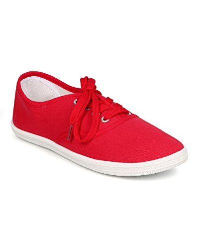 Refresh ED21 Women Canvas Round Toe Classic Lace Up Sneaker - Red 82ukx
