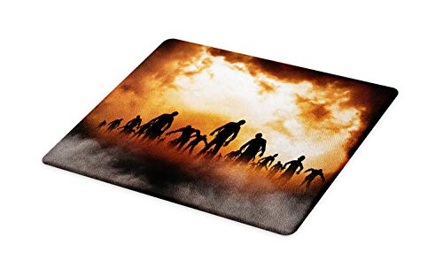 Ambesonne Halloween Cutting Board, Zombies Dead Men Walking Body in the Doom Mist at Night Sky Haunted Theme Print, Decorative Tempered Glass Cutting and Serving Board, Large Size, Orange Black]()